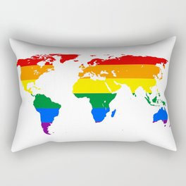 LGBTQ World Map Rainbow Rectangular Pillow