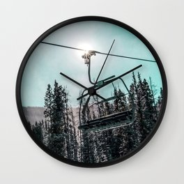 Empty Skilift // Dark Blue and Teal Snowboarding Dreaming of Winter Wall Clock