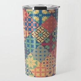 Leiden vintage cheater quilt colorful geometric design Travel Mug