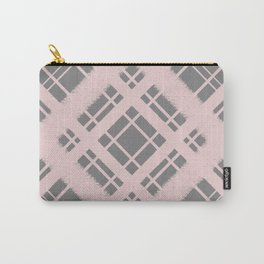 Pastel Pink on Grey Plaid Chalk Graphic Design Pattern Carry-All Pouch