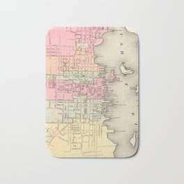 Vintage Map of New Bedford MA (1871) Bath Mat