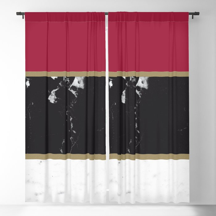 Marble Mix Stripes 2 Black White Red Gold Decor Art Society6 Blackout Curtain By Anitabellajantz