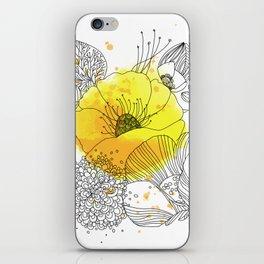 Yellow Floral Burst iPhone Skin