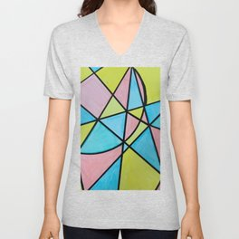Pastel Triangles and Circle Color Blocks Unisex V-Neck
