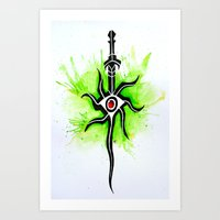 dragon age inquisition Art Prints featuring Dragon Age Inquisition - Inquisitor Symbol by Salzburn Designs Shop