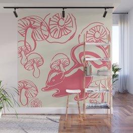 skunk with mushrooms Wall Mural