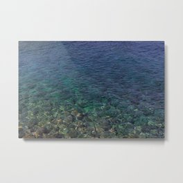 Colorful Transparent Blue and Aqua Sea On Crete Metal Print