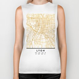 LYON FRANCE CITY STREET MAP ART Biker Tank