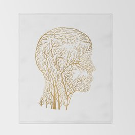 Head Profile Branches - Gold Throw Blanket