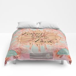 Femme as Fuck (ornate and pastel) Comforters
