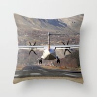 aviation Throw Pillows featuring ATR ATR-42-500 Aviation Scenic Dangerous No way out Landing aircraft by Aviator