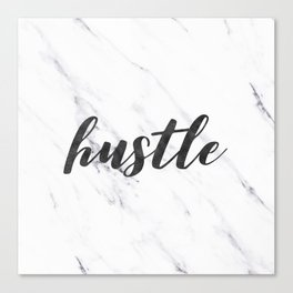 Hustle Text on Marble Black and White Canvas Print