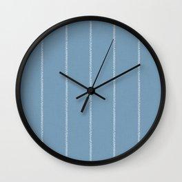 French Blue Linen Stripe Wall Clock