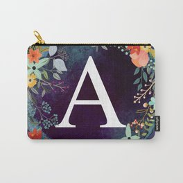 Personalized Monogram Initial Letter A Floral Wreath Artwork Carry-All Pouch