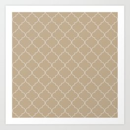 Warm Sand Quatrefoil Art Print