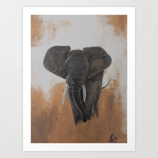 Lone Elephant Art Print