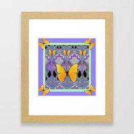 Pastel Lilac yellow butterflies Art Nouveau Design Framed Art Print