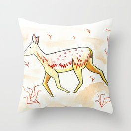 Red Fawn Throw Pillow