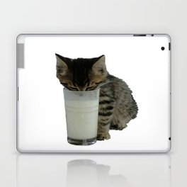 Cute Wild Kitten With A Glass Full of Optimism Laptop & iPad Skin