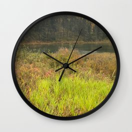 Forest walk by Lake Wall Clock