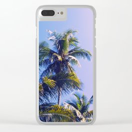 Pink Blue Tropical Island Sunset Landscape with Palm Trees Clear iPhone Case