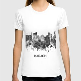 Karachi Pakistan Skyline BW T-shirt