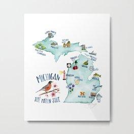 Watercolor Michigan Map Metal Print