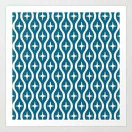 Mid century Modern Bulbous Star Pattern Peacock Blue Art Print