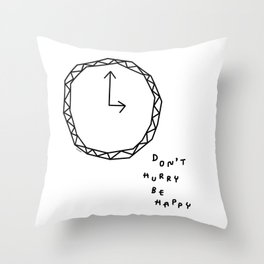 Be Happy - black and white illustration Throw Pillow