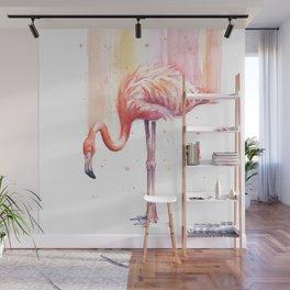 Flamingo Watercolor Flamingo Painting Wall Mural