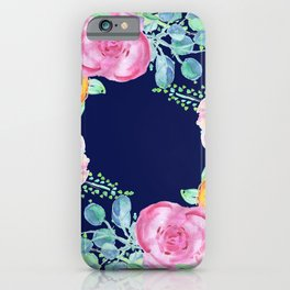 light pink peonies roses with navy background iPhone Case