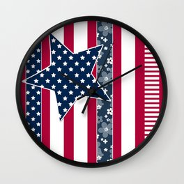 Abstract Patriotic pattern . Wall Clock