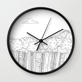 BigFoot Forest (Black and White) Wall Clock