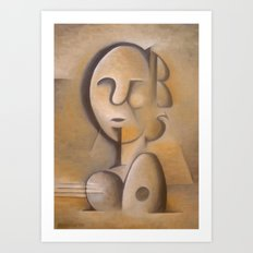 Man or Woman with or without Guitar or Mandolin Art Print