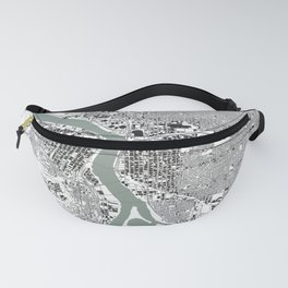 Portland, OR City Map Black/White Fanny Pack