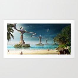 Beach bridge Art Print