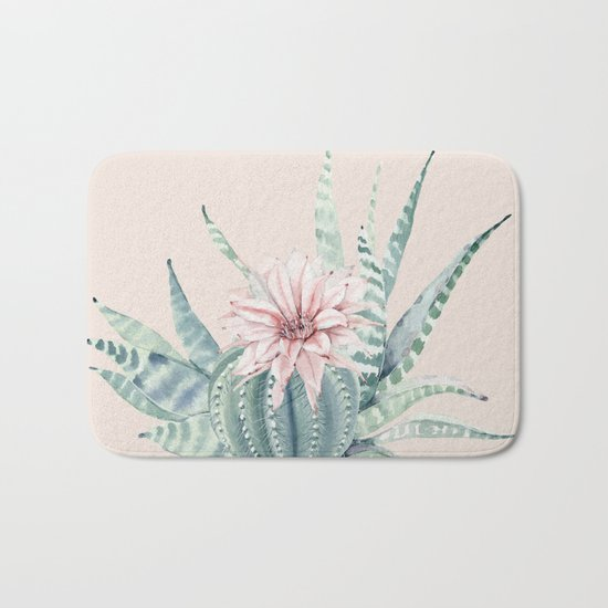 Aloe Cactus Rose Pink Bath Mat