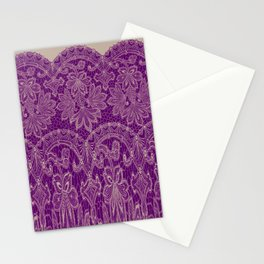 lace border stretched in purple Stationery Cards
