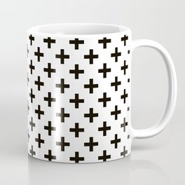 Criss Cross   Plus Sign   Black and White Coffee Mug