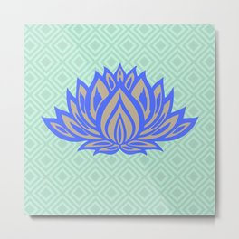 Lotus Meditation Mint Blue Throw Pillow Metal Print