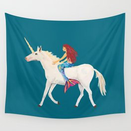 Red Haired Mermaid Rides the Unicorn Wall Tapestry