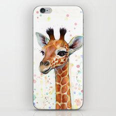 Giraffe Baby Animal Watercolor iPhone & iPod Skin