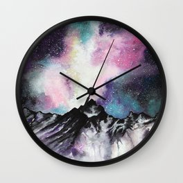 """Starruption"" Watercolor Mountain Scene Wall Clock"