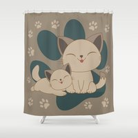 mew Shower Curtains featuring Mama, Mew...Mew... by HK Chik