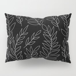 Black and White Botanical Branches with Leaves Pillow Sham