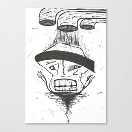 Black Belt Drip Germ WHT Canvas Print