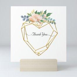 Graphic Heart and Flowers Mini Art Print