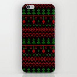 3 Knitted Christmas pattern in retro style pattern iPhone Skin