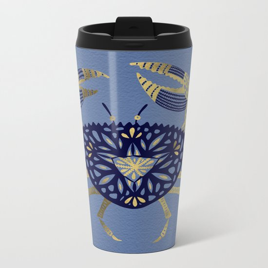 Crab – Navy & Gold Metal Travel Mug