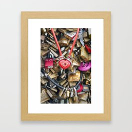 Red heart love lock in Paris   Noriko Aizawa Buckles Framed Art Print